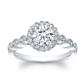 Women's Platinum antique engagement ring with 1 carat Round Brilliant White Sapphire and 0.20 ctw diamonds