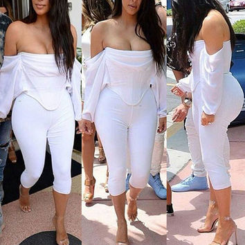 Off-shoulder Casual Blouse 3/4 Pants Sexy Two Pieces Set