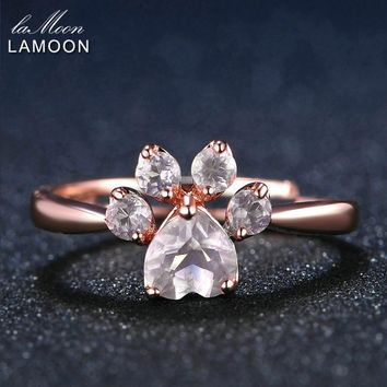 LAMOON Bear's Paw 5mm 100% Natural Pink Rose Quartz Ring 925 Sterling Silver Jewelry Romantic Wedding Band LMRI027