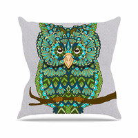 "Art Love Passion ""Great Green Owl"" Teal Gray Throw Pillow"
