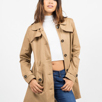 Button Front Belted Trench Coat