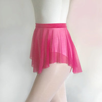Magenta Mesh Ballet Dance Skirt - SAB Style- Royall Dancewear- Lyrical- Pull On- Hot Pink