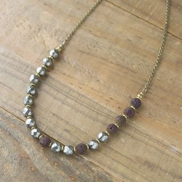 Pyrite Essential Oil Diffuser Necklace