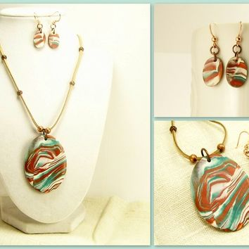 Southwest Jewelry Set, Bronze Turquoise and White, Handmade Polymer Clay Jewelry