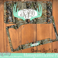 Mint Camo Antlers Monogram License Plate Frame Holder Deer Metal Wall Sign Tags Personalized Custom Hunting Vanity Tree Camo Country
