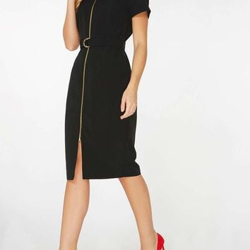 Black Zip Front Pencil Dress | Dorothyperkins