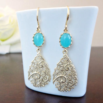 Mint green gold dangle earrings, Gold teardrop earrings, Bridal gold drop earrings, Bridesmaid earrings, Simple everyday earrings