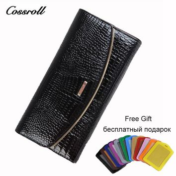 Cossroll 2017 Bifold Wallet Female Cowhide Women Wallets Long Clutch Genuine Leather Alligator Passport Cover for Women's Purse