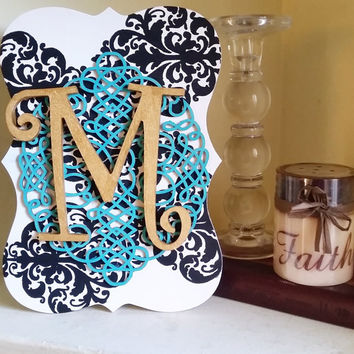 Monogram Wooden Wall Plaque - Wooden, home decor, decoration, wall decor, handmade, initial