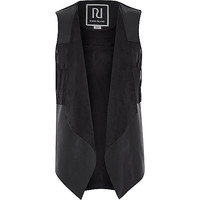 River Island Girls black faux suede fringed vest