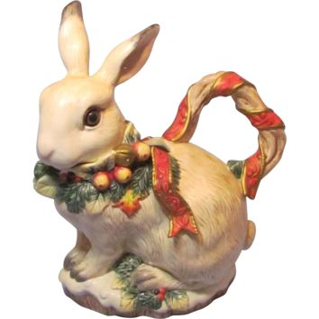 Vintage Fitz and Floyd Classic  Father Noel Rabbit Pitcher