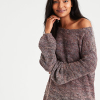 AE Slouchy Balloon-Sleeve Sweater, Burgundy
