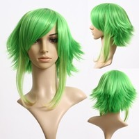 Cosplayland - Vocaloid Gumi 40cm Grass Green layered heat-resistant Cosplay Wig