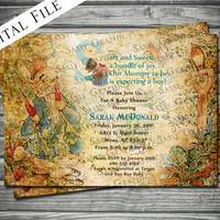 Vintage Peter Rabbit Baby Shower Invitation