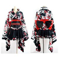 White Red Black Floral Gothic Lolita Geisha Kimono Dress Clothing Cosplay SKU-11402004