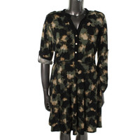 NY Collection Womens Printed Adjustable Sleeves Casual Dress