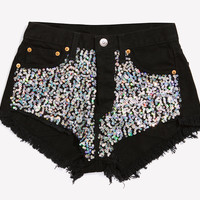 Glam Girl Sequined Cheeky Black Shorts