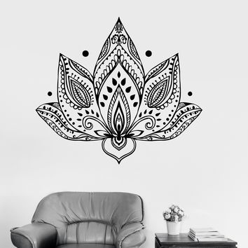 Vinyl Wall Decal Lotus Flower Patterns Yoga Buddhism Bedroom Stickers Unique Gift (ig3423)