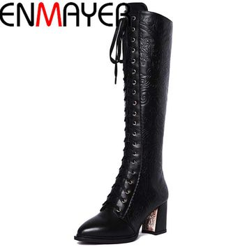 New High Boots Women High Heels Leather Motorcycle Women Lace Knee High Boots Winter Shoes Fashion Knight Boots Sale hot