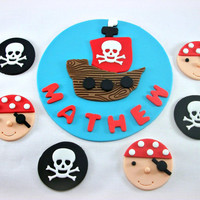 Pirate Party Package - One 6 '' Fondant Cake Topper and 12 Pirate Fondant Cupcake Toppers, Pirate Birthday, Pirate Baby Shower