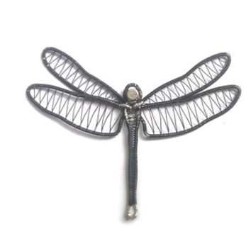 Dragonfly Fridge Magnet, Wire Wrapped Black Dragonfly Magnet, Handmade Novelty Fridge Decoration, Wire Woven Home Decor, Unique Gift Idea