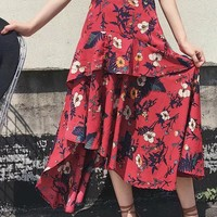 Flower Print Irregular Loose Long Skirt