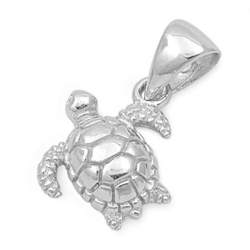 "Sterling Silver Sea Turtle Pendant 13MM (Free 18"" Chain)"