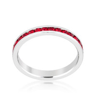 Stylish Stackables With Ruby Crystal Ring, size : 07