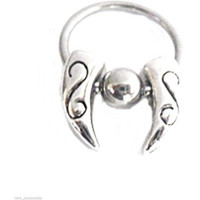 "Captive Nipple Ear Ring 14 Gauge 1/2"" w/Tribal Swinging Talons 6mm Ball Steel Bo"