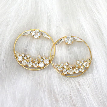 Hoop Earrings, Bridal Hoop Earrings, Swarovski White Crystal Bridal Earrings, Swarovski Bridal Earrings, Statement Gold Earrings, Big Hoops