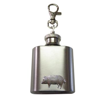1 Oz. Stainless Steel Key Chain Flask with Pig Pendant