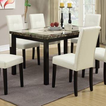 7 pc briana collection faux marble finish top with espresso wood finish frame dining table set