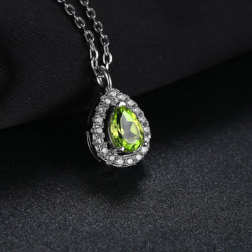 Natural Peridot 925 Sterling Silver Solitaire Pendant Necklace