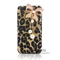 Leegoal Bling Diamond Glitter Bow Pearls Leopard Hard Case Cover for a Pple iPhone 5C