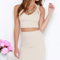 Piece Together Beige Two-Piece Dress