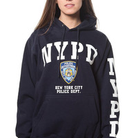 Adult Nypd Navy Pullover Hoodie with White Print