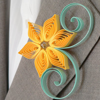 Yellow and Mint Green Flower Boutonniere, Groomsmen Gift, Lemon and Mint Wedding, Spring Wedding
