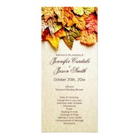 Fall Autumn Leaves Vertical Wedding Programs