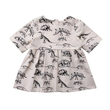 Toddler Infant Baby Girls Gray Animal Half Sleeve Dress Outfits Clothes Children Girl Dresses Print Clothing