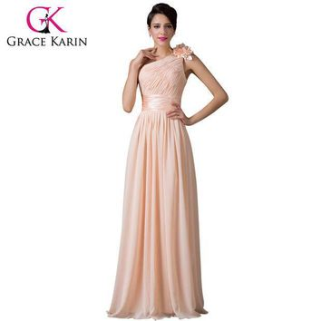 CREYET7 Grace Karin Bridesmaid Dress Beautiful One Shoulder Chiffon Apricot Floor Length Prom Gown Dance Long Bridesmaid Dresses 2016