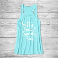 Salty hair & Sandy Toes Tank Top, Funny Shirt, Vacation Shirt, Beach, Ocean, Cotton Screen Printed Tank Top,  bella tank, Bella Canvas