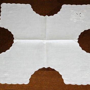2 Vintage Roll Covers White Linen Broderie Sturzenegger NEVER USED | Bread Basket Liners Fine Linen | Bread Servers | Vintage Swiss Linen