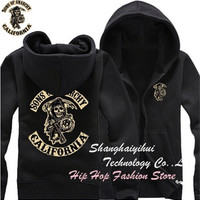 American Hot Selling  Winter Sons of Anarchy Fleece Thick Hoodie SOA Skull Sweatshirt Fashion Hoodies Zipper Unisex = 1830079364