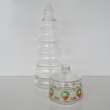 Vintage Glass Christmas Apothocary Jars Candy Jars