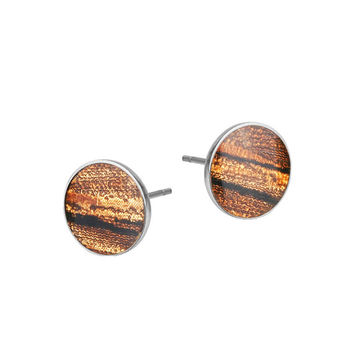 Disc Earrings with In Lay Wood Motif - Variety of Colors - Matching Our Rings, Chains, Bangels
