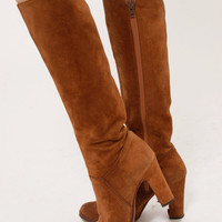 Vintage 70s Mocha SUEDE Knee HIGH Boots Size 5 Zip Up Boot With Heel Leather Hippie Boots Boho Boots