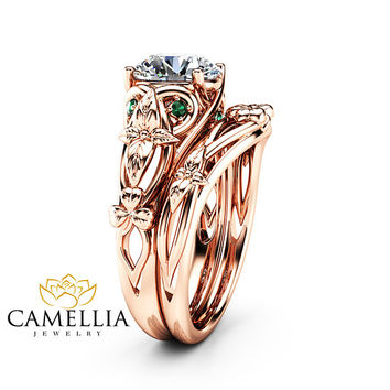 Moissanite Shamrock Celtic Knot Engagement Ring Set 14K Rose Gold Moissanite Ring Irish Engagement Ring with Matching Band
