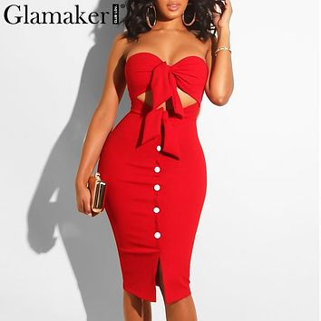 Strapless Hollow Out Summer Sexy Women Dress Red Bodycon Split Midi Party Dress Elegant Black Club Button Casual Dress