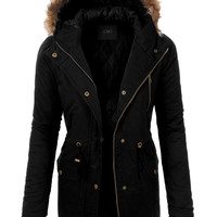 LE3NO Womens Anorak Military Parka Jacket with Faux Fur Trim Hoodie