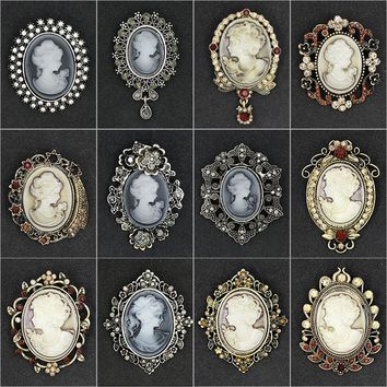 Factory Direct Sale Assorted Styles Crystal Rhinestones Cameo Vintage Brooch Pins for Women in Antique Gold / Silver Colors